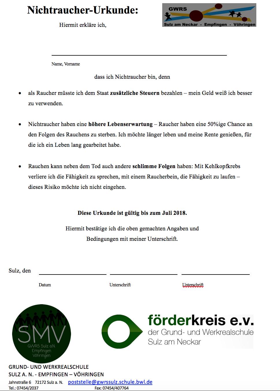 Urkunde - Nichtraucher SMV